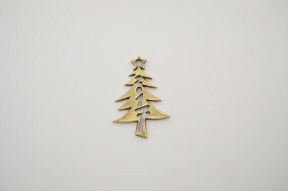 7 antique bronze christmas tree charms by charmsandmetal on Etsy