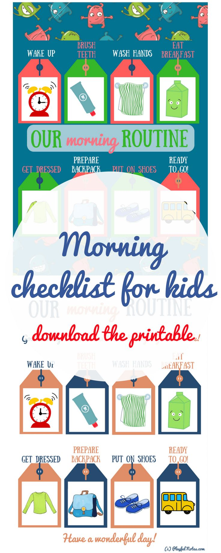 Printable morning checklist for kids: Morning routine for kids