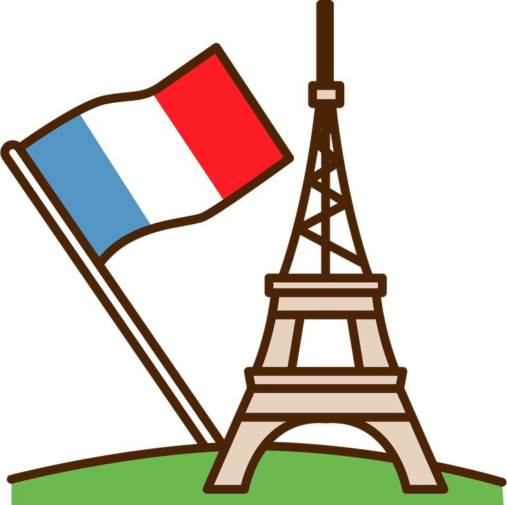 Eiffel tower and french flag clipart free download