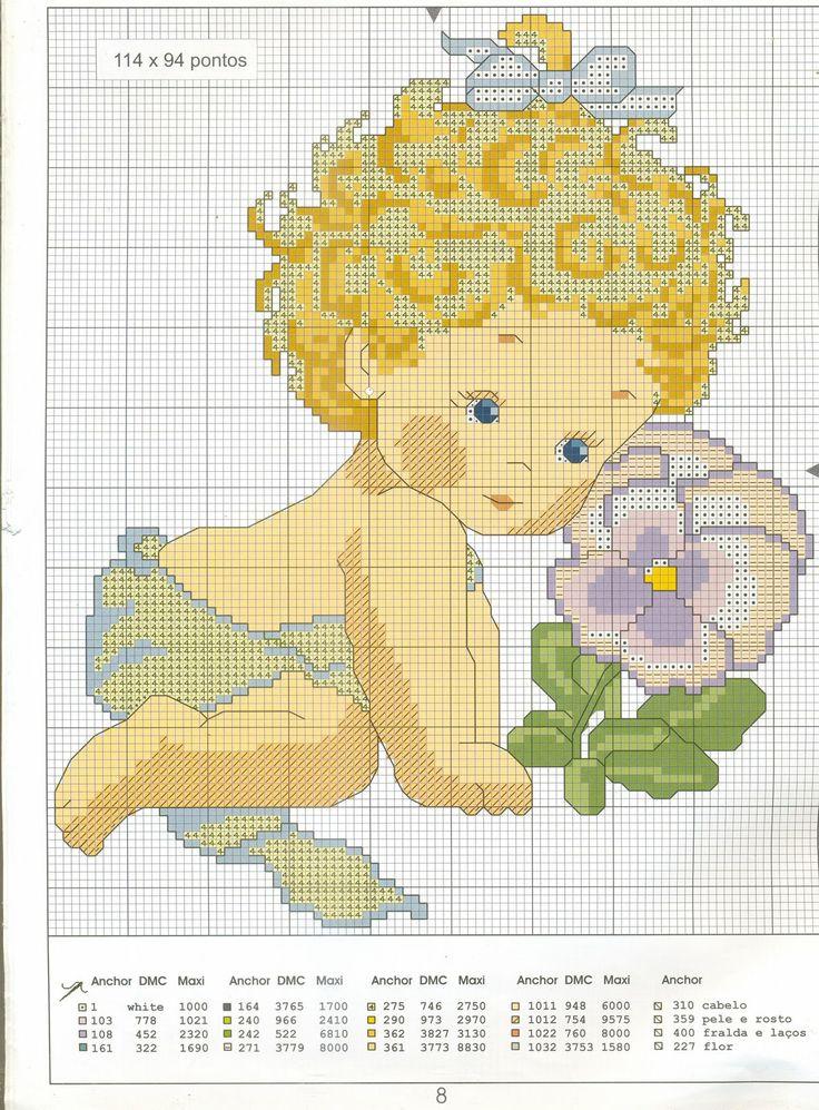 Moldes para punto de cruz de bebes - Imagui