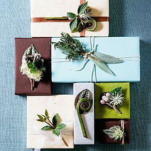 28 festive winter arrangements | Silvery sprig gift toppers | Sunset.com: Christmas Giftwrap, Christmas Gifts Wraps, Giftwrap Upgrades, Gifts Toppers, Sprig Gifts, Sunsets Magazines, Holidays Decor, Christmas Decor, Christmas Ideas