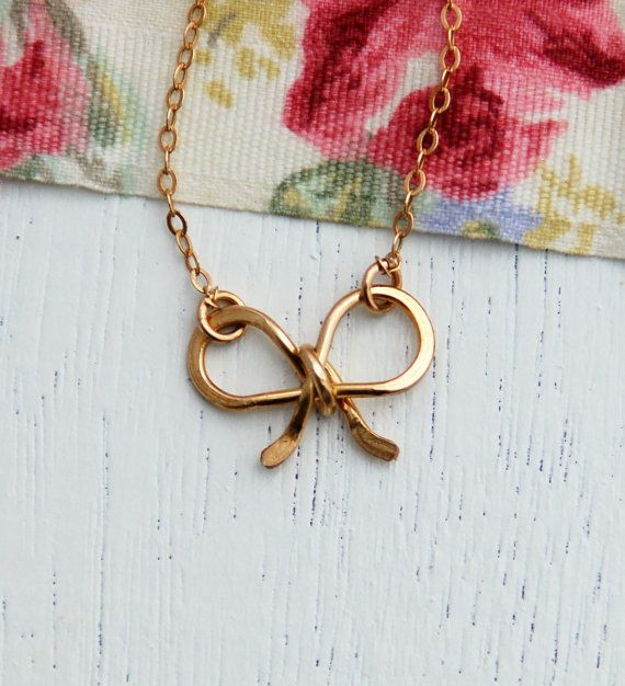 Bow necklace gold necklace bridesmaid necklace charm by AAprill, $25.00