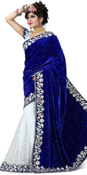 Navy Blue And White Impeccable Velvet Net Saree With Blouse.