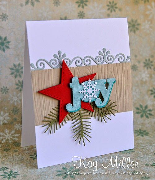 For Concept. Word die + die cut branches + star die. Border could be stamped. Christmas.