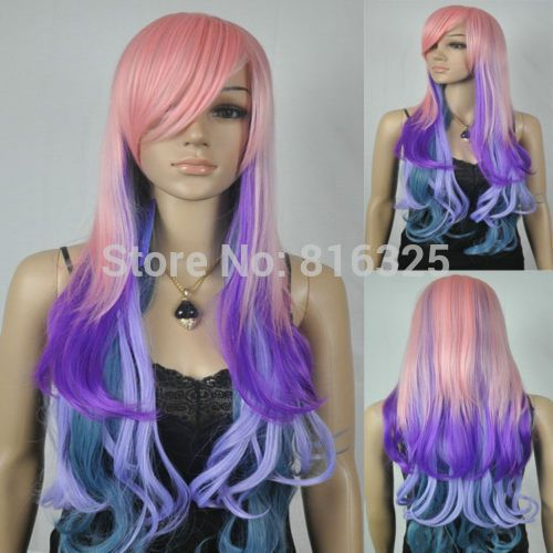 БЕСПЛАТНО P & P>> Розовый Синий Фиолетовый Многоцветный Длинные свободные Волнистые Вьющиеся волосы женщины Парик маскарадный костюм плутон волосы королева леди