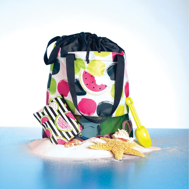 NEW! Mesh Mix Cinch Bag (9049) $30  /  On the Spot with Watermelon Slice in Hot Pink  / AND  /  Mini Zipper Pouch (3013) $12  /  Slice of Summer  /  https://www.mythirtyone.com/1872596/shop/Home