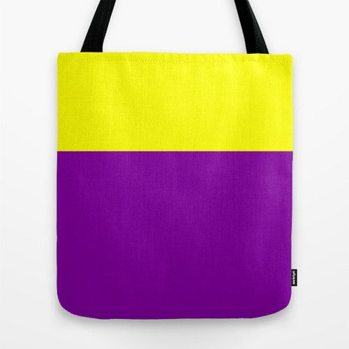 Purple Tote Bag - Yellow and Purple Tote, Color Block, Tote Bag 16x16 inch #etsy  #etsymnt