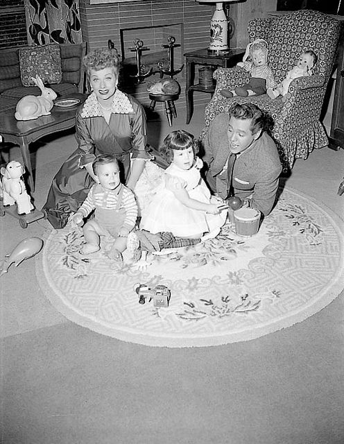 The Arnaz family at home.