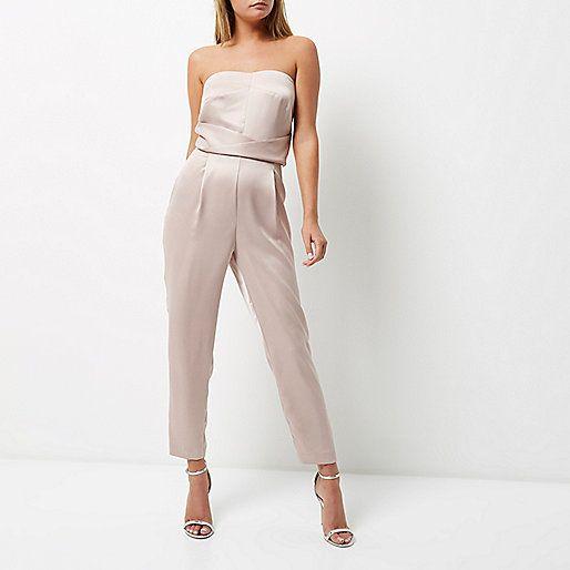 Light pink satin bandeau jumpsuit - jumpsuits - playsuits / jumpsuits - women ♦F&I♦