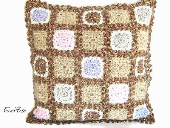 Crochet Granny Pillow Handmade Pillow Brown by CreArtebyPatty
