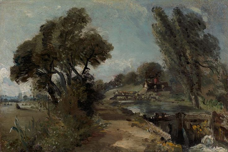 Flatford Lock on the Stour looking towards Bridge Cottage (John Constable)