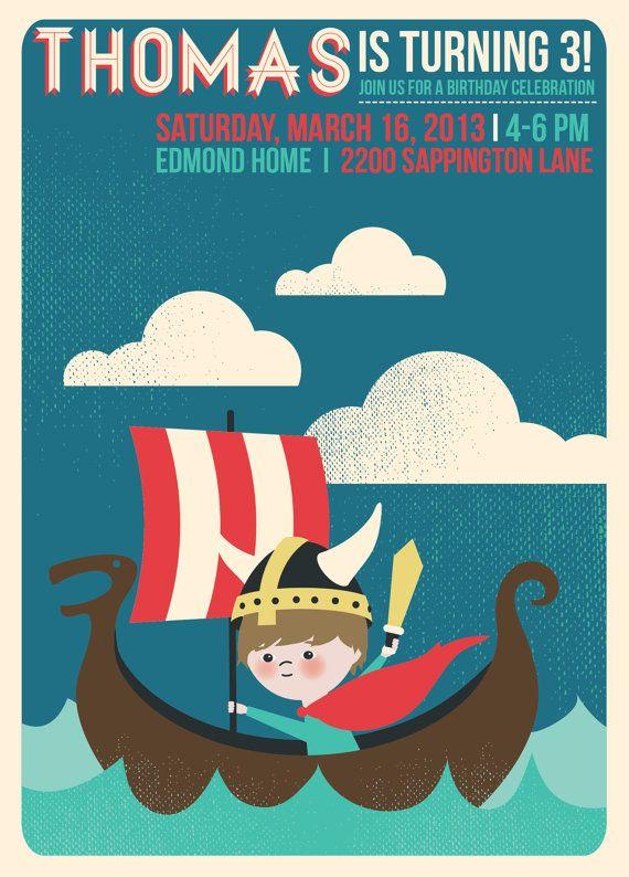 5 X 7 enfants thème anniversaire invitations caractéristiques viking et illustration personnalisée de votre enfant