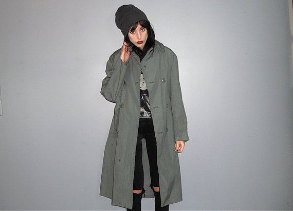 Military Coat  Mac Coat Trench Coat Army Green Maxi par alacloth
