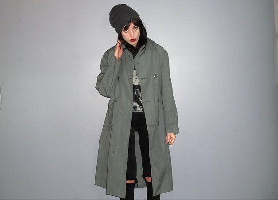 Military Coat  Mac Coat Trench Coat Army Green Maxi par alacloth