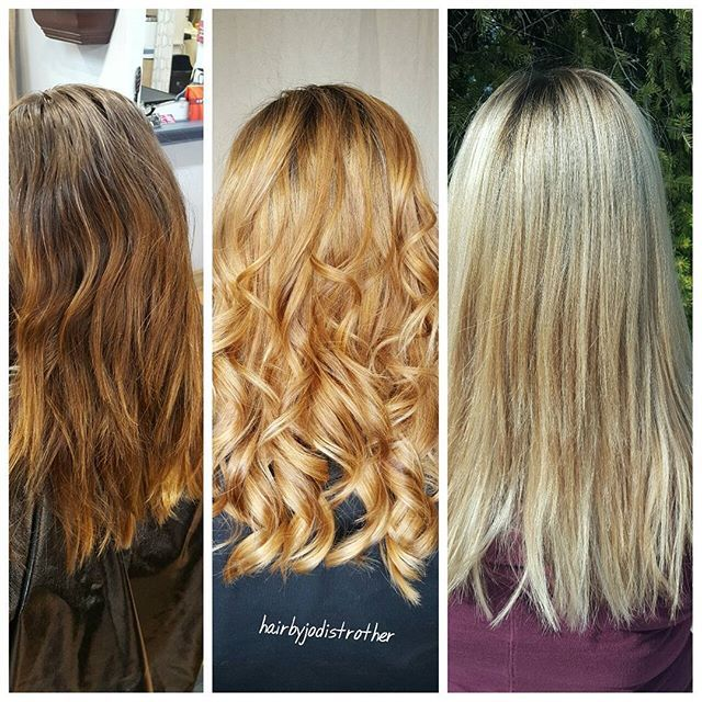 Remember the stages you have to go through when going blonde! Everyone goes through a warm stage🌅 (blorange) The integrity of your hair is the most important thing to us! Be patient and trust the process!! Deep treatment masks, quality shampoo and conditioner (your stylist will discuss the best one for your hair!) To keep your hair in the best💯 condition possible 😘 #hairbyjodistrother #michighairstylist #davisonsalon #btconeshot_transformation17 #behindthechair #oneshot awards