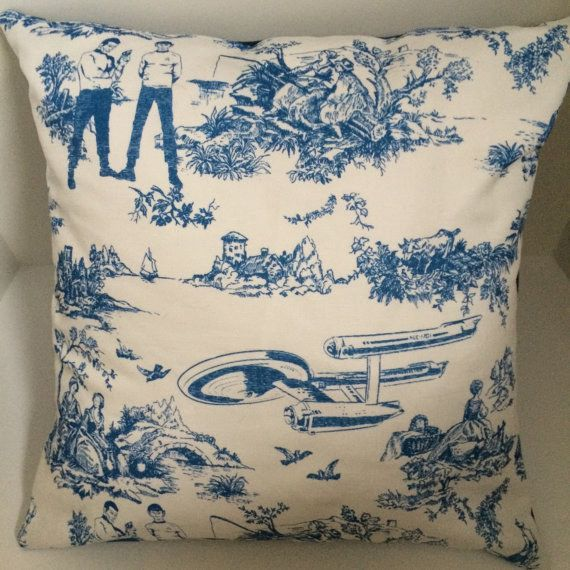 This Star Trek-inspired toile pillow:   Community Post: 21 Subtle Ways To Decorate Your Home Like A Nerd
