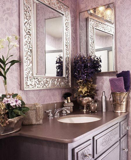 PurpleWall Colors, Powder Room, Downstairs Bathroom, Bathroom Colors, Guest Bathroom, Purple Bathroom, Dreams Bathroom, Beautiful Bathroom, Decor Mirrors