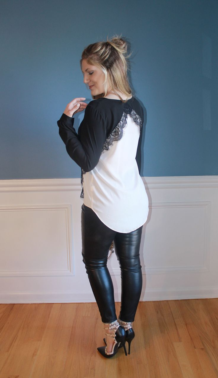 faux leather leggings, lace top, studded heels, winter fashion