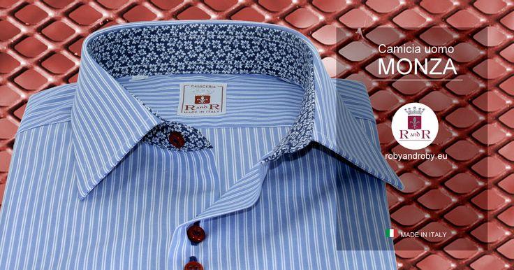 Men's shirt MONZA #Mensshirt Blue shirt with white striped and blue slots Contrast style - 100% cotton - Camicia Uomo MONZA #Camiciauomo  Camicia azzurra righe bianche asole blu Contrasto stile - 100% cotone