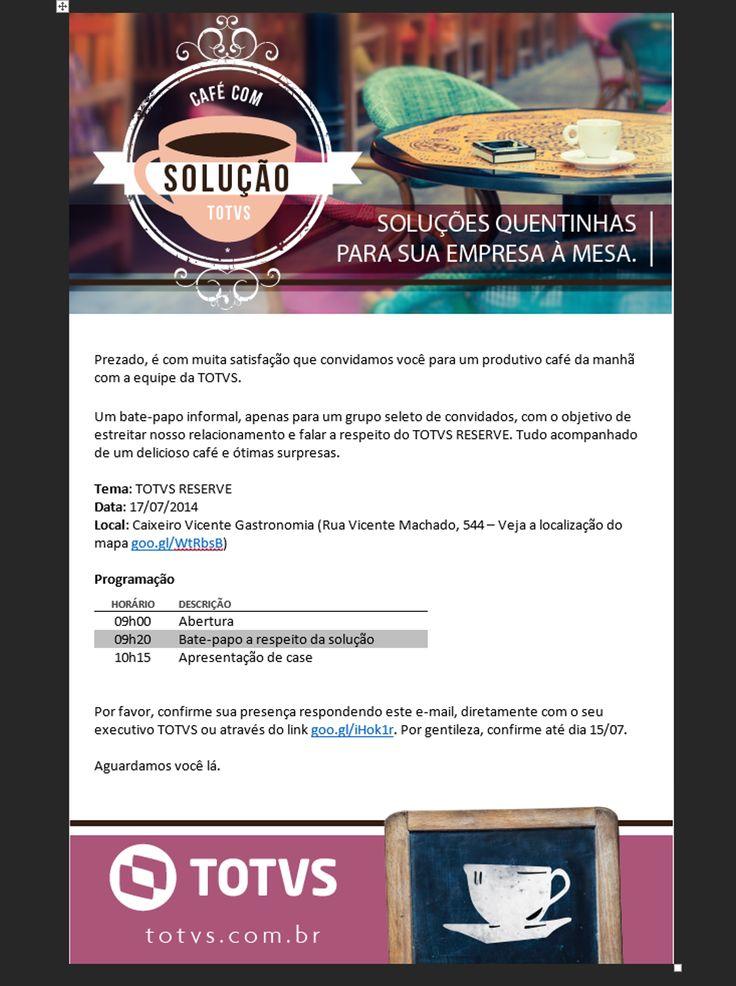 Convite para o Café com Solução TOTVS Reserve
