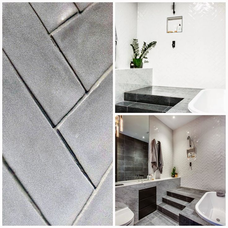 bathroom with raised shower herringbone tiles - Michael and Carlene's Block Apartment