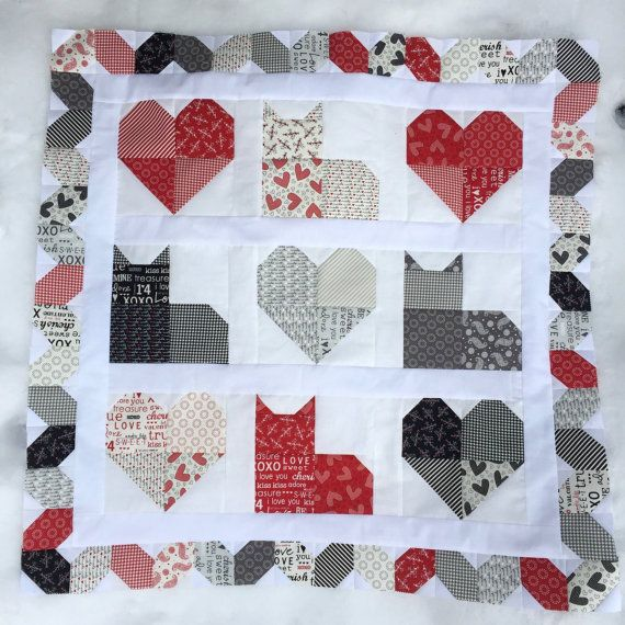 Kitty Love Quilt Pattern PDF Quilt Pattern Table or Wall