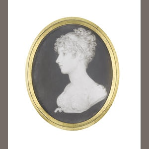 Samuel Andrews (Irish, circa 1767-1807) A bust-length portrait miniature of a Lady, profile to the left, wearing dress with short bouffant sleeves, sash tied beneath her bust with a ribbon bow, her hair curling and upswept.