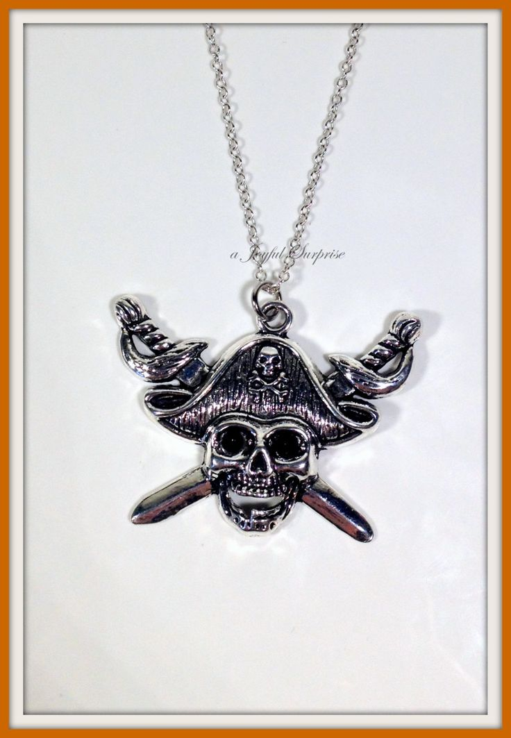 Pirates of the Caribbean Necklace, Pirate Necklace, Skull and Sword Necklace, Pirate Necklace, Jack Sparrow- N1202 by aJoyfulSurprise on Etsy