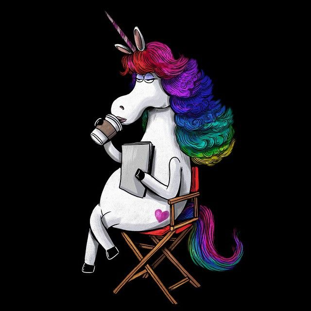"""The Actress"" - Rainbow Unicorn -submission for the Inside Out @threadless official challenge, 2 more days to submit! #pixar #insideout Watched it with my daughter and was blown away by the levels of story this movie has! Such a great film! rainbow unicorn wasn't shown much in the movie but just her attitude and character made her one of our favorite characters!"