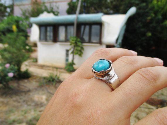 Ручной работы серебряное кольцо, Инкрустированное бирюзой, натуральная дизайнерская Амира Poran, Сделано в Израиле