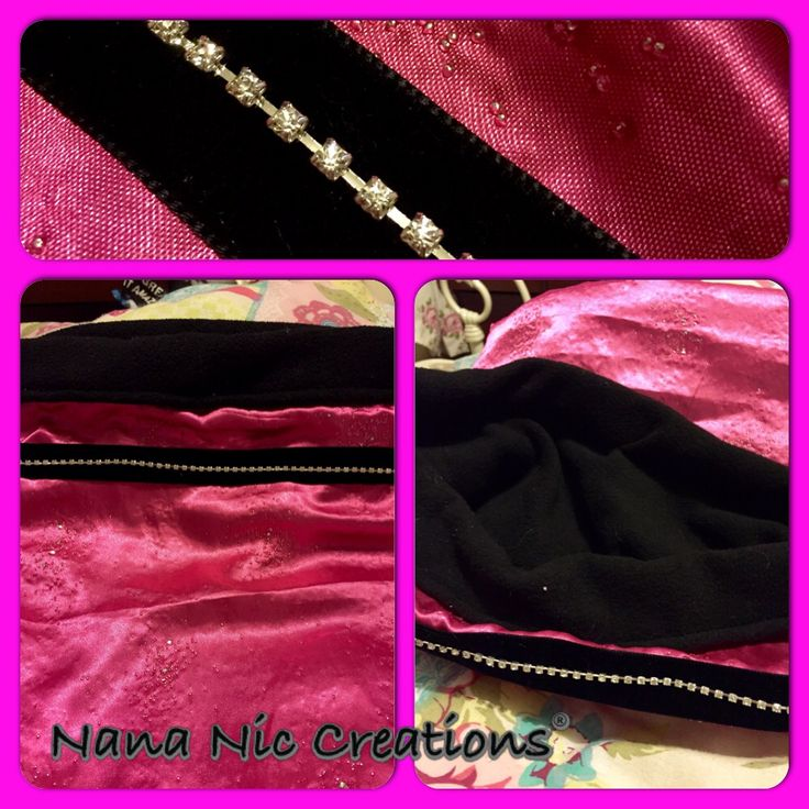 Snuggle sack made with hot pink fabric with bursts of bling throughout teamed with black luxurious fleece. Black velvet trim showcases a stunning single row of Rhinestones to complete its Hollywood feel. Available at Nana Nic Creations on facebook x