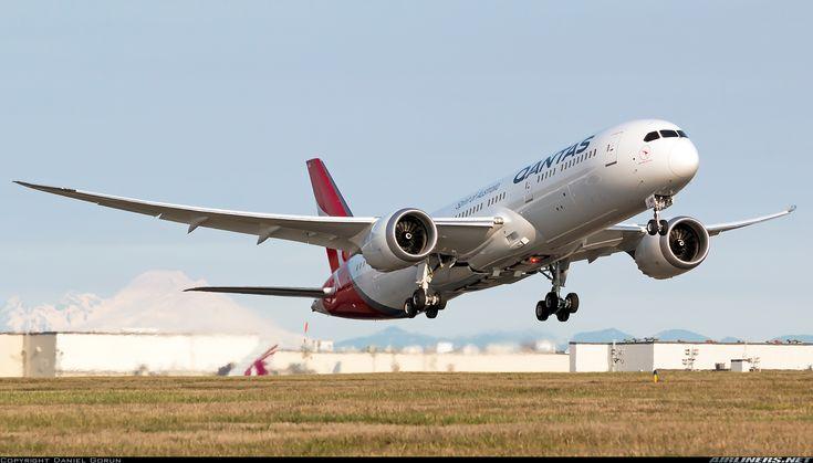 "Qantas Boeing 787-9 Dreamliner VH-ZNB ""Waltzing Matilda"" departing Everett-Paine Field, December 2017. Delivery flight en route to Melbourne. (Photo: Daniel Gorun)"
