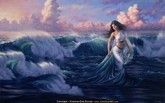 "Asherah, known as the ""Lady of the Sea""Water Pictures, Water Fairies, Goddesses, Art Piece, Ocean Art, Full Back Tattoo, Angels, Painting, The Sea"