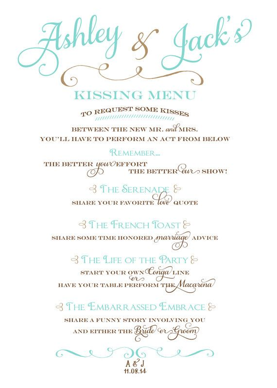 Wedding Kissing Menu by BlushAndBliss