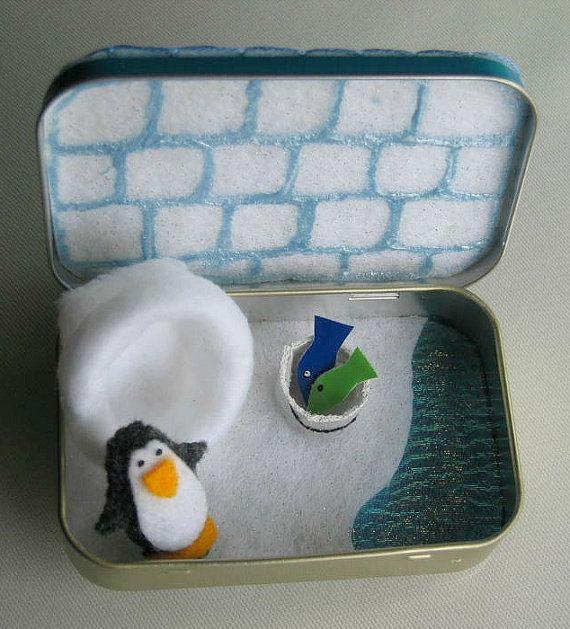 Pinguin Filz Plüsch Spielset in einer Altoid Dose von wishwithme