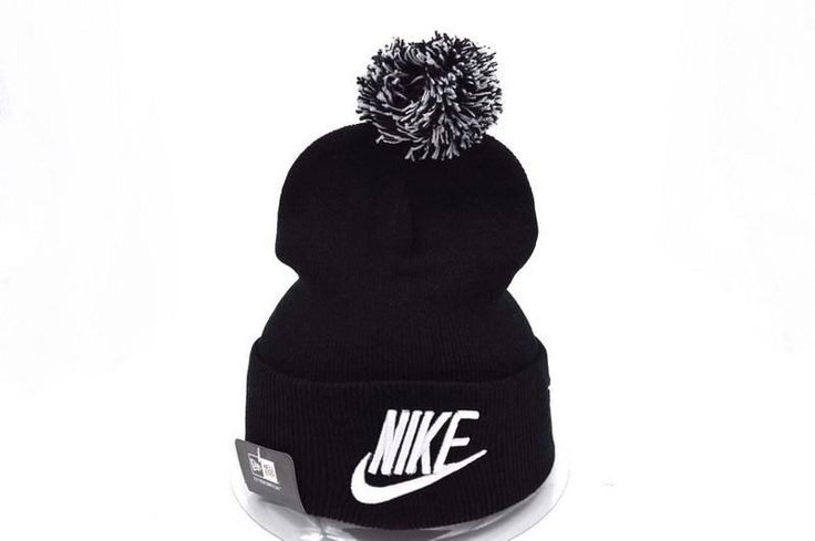 777f3a776e8 Mens   Womens Nike Iconic Nike Logo 2016 Winter Fashion Trend Woolly Cuffed  Knit Grey Pom Beanie Cap - Black