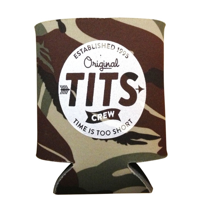 The Original TITS Crew Logo Coozie in Camo.    White print on front and back.  Neoprene.    Free shipping in Continental US.