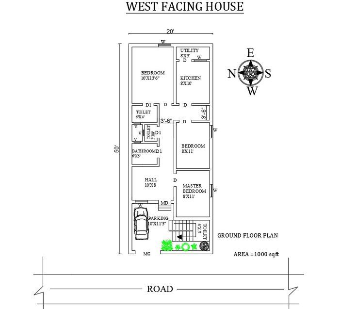 20 X50 Splendid 3 Bhk West Facing House Plan As Per Vasthu Shastra Autocad Dwg And Pdf File Details West Facing House House Plans House Layout Plans