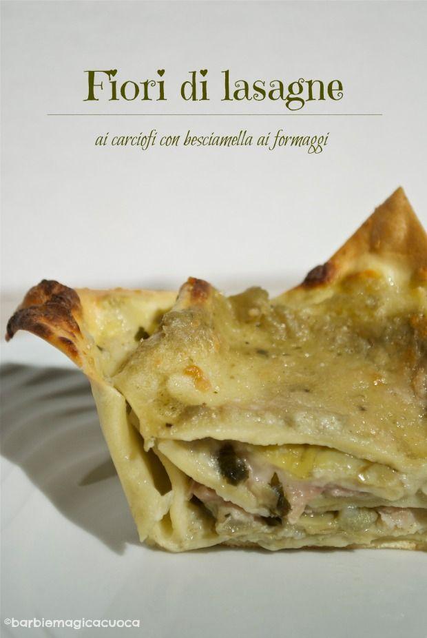 Fiori di lasagne ai carciofi con besciamella ai formaggi, provola e prosciutto cotto