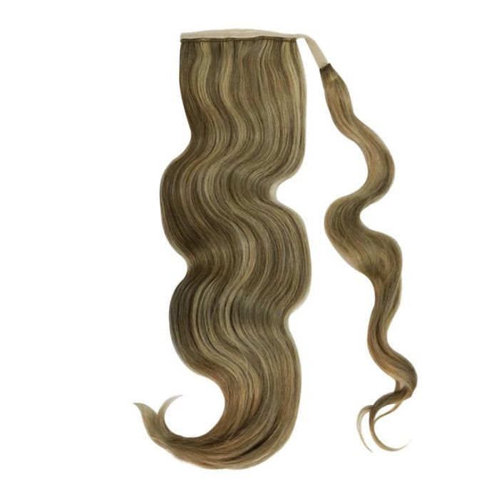 Human Hair Velcro Ponytail Bodywave 18 Real Hair Extensions