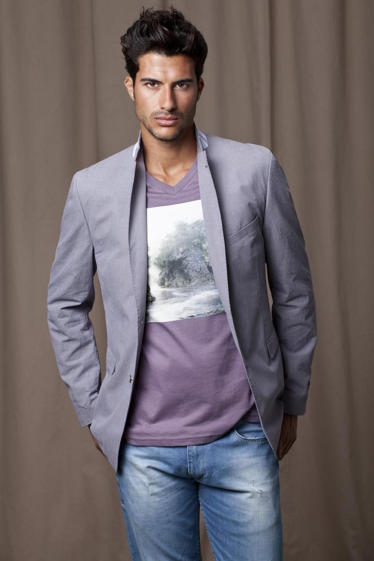 Grey Blazer, purple/grey printed t-shirt and light blue jeans