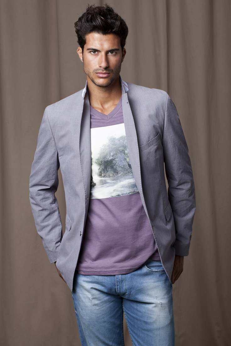 Grey Blazer, purple/grey printed t-shirt and light blue ...