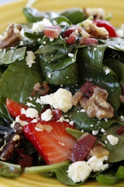 Baby Spinach Salad with Strawberries - Hang onto the recipe to substitute peaches and peach preserves for the strawberry in the summer, and pear jam and fresh pears in the fall or winter.