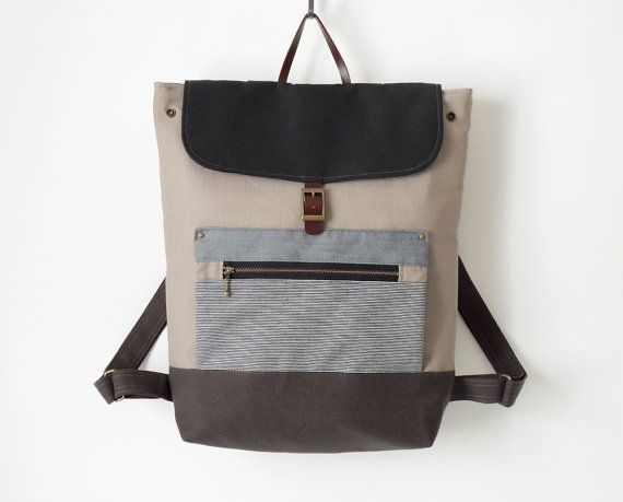 ZipPocket, Unisex, Dark navy flap, Gray canvas backpack / Laptop bag / Leather closure / front zipper pocket / 15 inch, Design by BagyBags