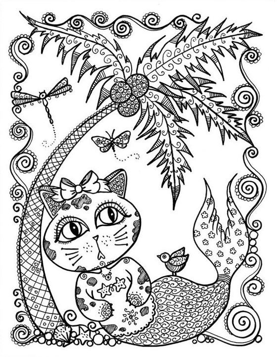 i can color cats island coloring tree - Palm Tree Beach Coloring Page