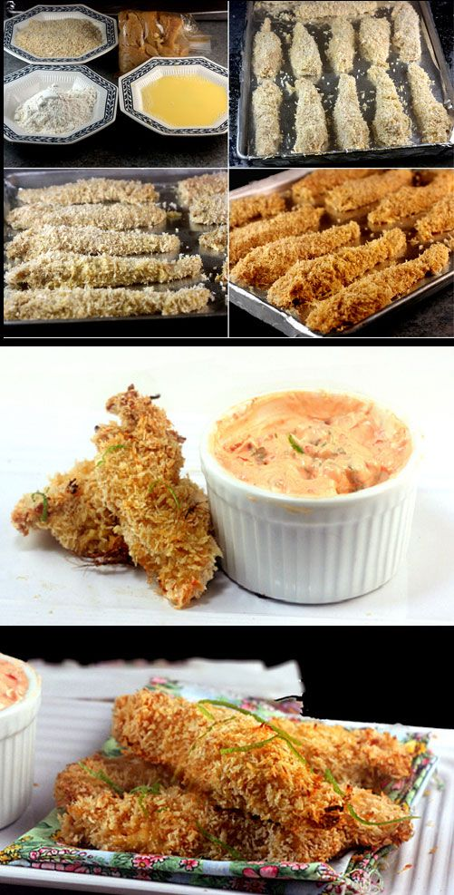 Crunchy Baked Coconut Lime Chicken Strips with Spicy Greek Yogurt Dipping Sauce. Tastes deep-fried!