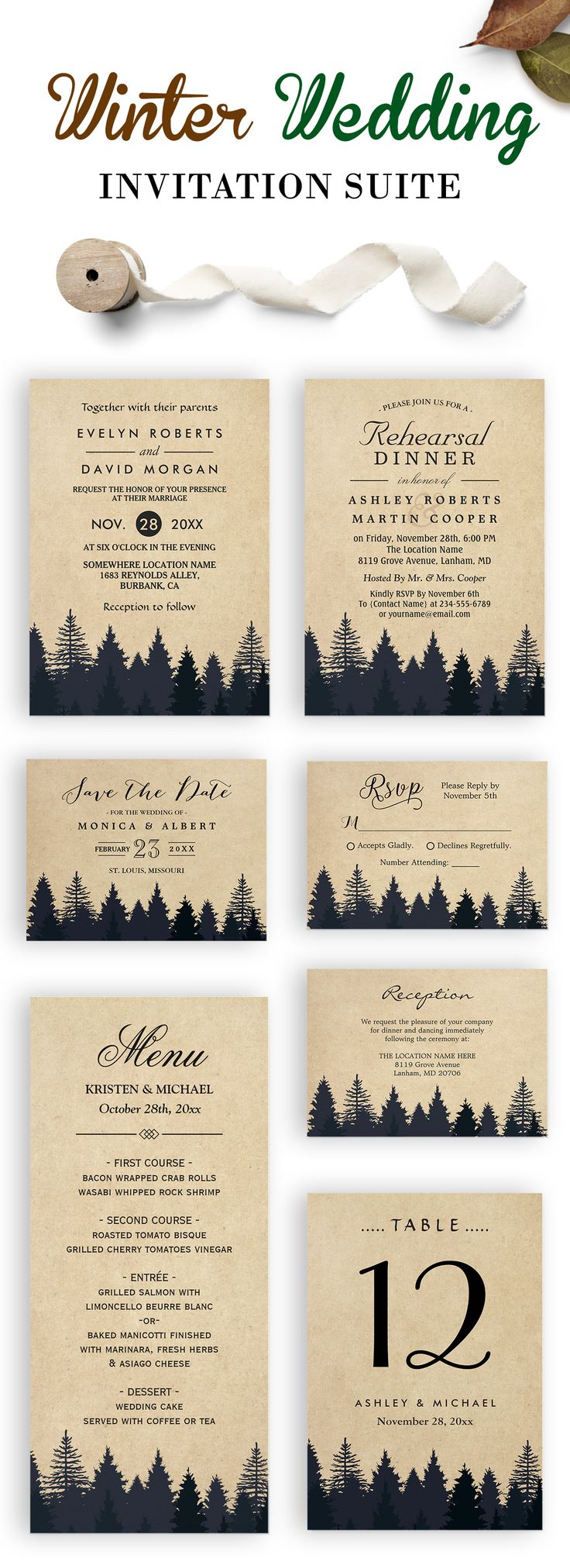 The 1816 best Winter Wedding Invitations images on Pinterest ...