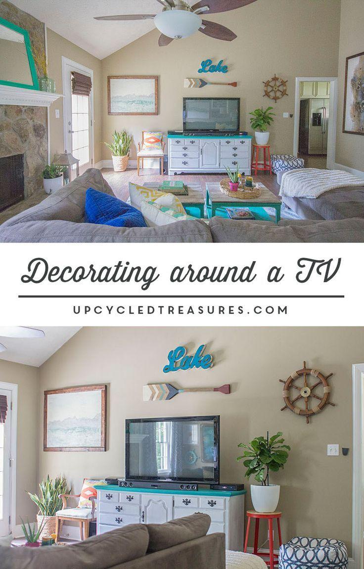 Decorating around a TV | upcycledtreasures.com