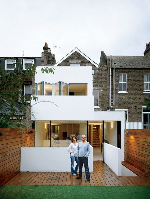 A couple re-energized their Victorian terrace house in London by adding a bright, white modern addition. Photo by Matthew Williams.  Photo by: Matthew Williams