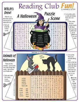 """HALLOWEEN SCENE VOCABULARY PUZZLE & CRAFTIVITY FUN     Find and circle 60 fun Halloween vocabulary words across these four Word Search Puzzles.   Then, cut out each puzzle, fold back the tabs, and create a """"Spooky Halloween Scene"""" (These Cut-Out & Stan"""